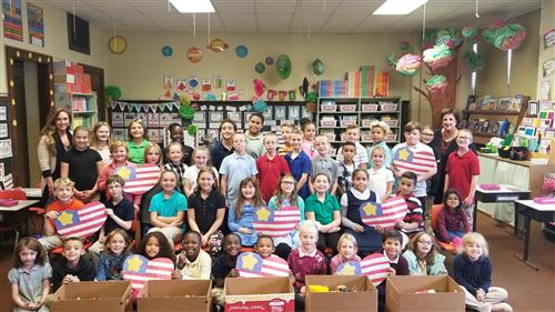 Students of Schuyler Avenue Elementary, Wyoming Valley West School District, recently donated to Operation Gratitude Hallowee