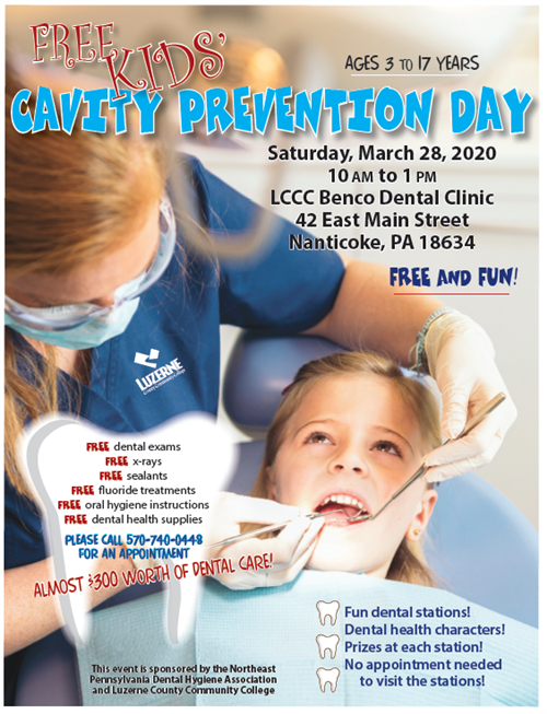FREE Kid's Cavity Prevention Day coming up on March at LCCC March 28, 2020.