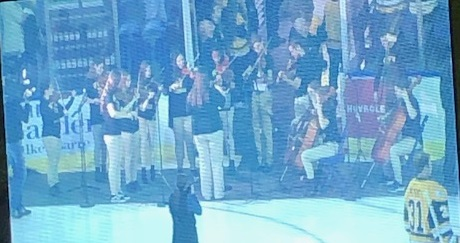 Chamber Orchestra Performs at Hockey Game